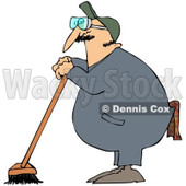 Royalty-Free (RF) Clipart Illustration of an Industrial Janitor Leaning On A Push Broom © djart #97359