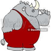Royalty-Free (RF) Clipart Illustration of a Strong Rhino Flexing His Muscles © djart #97790