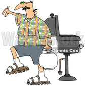 Royalty-Free (RF) Clipart Illustration of a Caucasian Man Carrying A Propane Tank By A BBQ © djart #98371