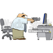Royalty-Free (RF) Clipart Illustration of an Angry Businessman Holding A Pistil At A Computer © Dennis Cox #98372
