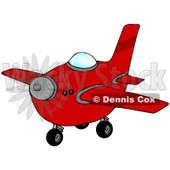 Royalty-Free (RF) Clipart Illustration of a Red Airplane With A Spinning Propeller © Dennis Cox #98780