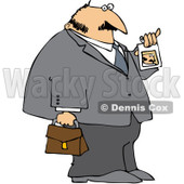Royalty-Free (RF) Clipart Illustration of a Businessman Showing His Photo ID © djart #98781