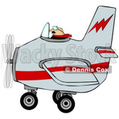 Royalty-Free (RF) Clipart Illustration of a Male Pilot Flying A Gray And Red Airplane © Dennis Cox #98782