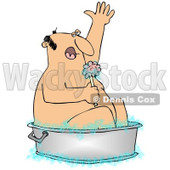 Royalty-Free (RF) Clipart Illustration of a Man Using A Sponge To Clean Up In A Tub © djart #98850