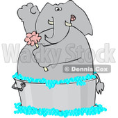 Royalty-Free (RF) Clipart Illustration of an Elephant Scrubbing With A Sponge In A Wash Tub © Dennis Cox #98953