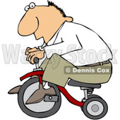 Royalty-Free (RF) Clipart Illustration of a Caucasian Man Riding A Little Trike © djart #98955