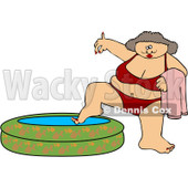Royalty-Free (RF) Clipart Illustration of a Chubby Woman In A Red Bikini, Dipping Her Foot In A Kiddie Pool © djart #99169
