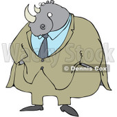 Royalty-Free (RF) Clipart Illustration of a Rhino Businessman In A Beige Suit © djart #99170
