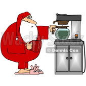 Royalty-Free (RF) Clipart Illustration of Santa In His Pjs And Bunny Slippers, Getting Himself A Cup Of Coffee © djart #99659