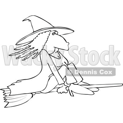 Cartoon of an Outlined Witch Flying on a Broomstick - Royalty Free Vector Illustration © djart #1151806