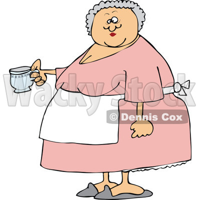 Cartoon of a Chubby Lady Wearing an Apron and Holding a Tea Cup - Royalty Free Vector Clipart © djart #1160541