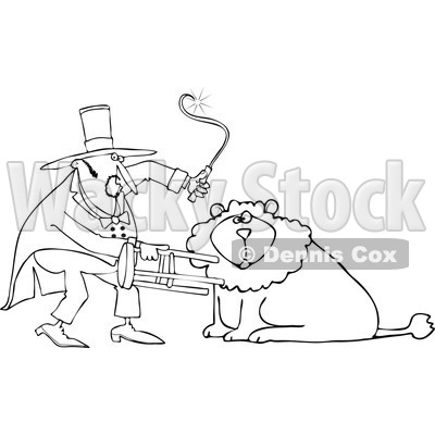 Cartoon of an Outlined Circus Lion Tamer Holding a Stool and Whip - Royalty Free Vector Clipart © djart #1181991
