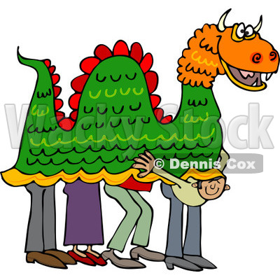 Clipart of a Man Peeking out from Under a Chinese Dragon - Royalty Free Vector Illustration © djart #1225228