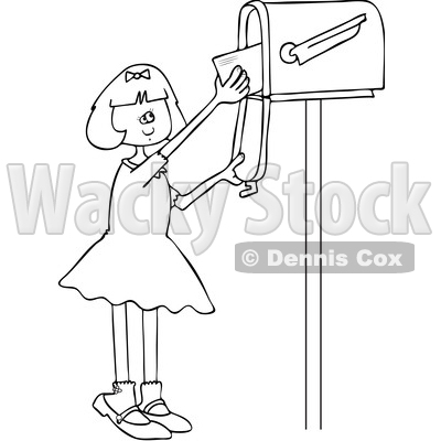 Clipart of a Cartoon Black and White Lineart Happy Girl Getting Letters from a Mailbox - Royalty Free Vector Illustration © djart #1432698