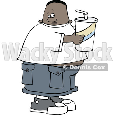 Clipart of a Cartoon Black Boy Holding a Large Fountain Soda - Royalty Free Vector Illustration © djart #1528735