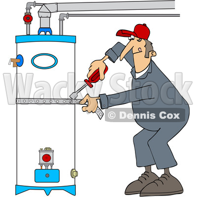 Clipart of a Male Plumber Tightening a Strap Around a Water Heater - Royalty Free Vector Illustration © djart #1529992