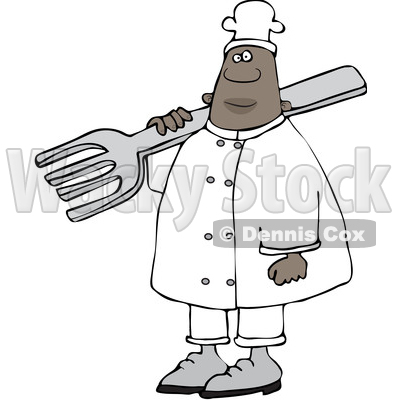 Clipart of a Black Male Chef in Carrying a Giant Fork over His Shoulder - Royalty Free Vector Illustration © djart #1560543
