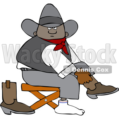 Clipart of a Cartoon Black Cowboy Putting on His Boots - Royalty Free Vector Illustration © djart #1567566