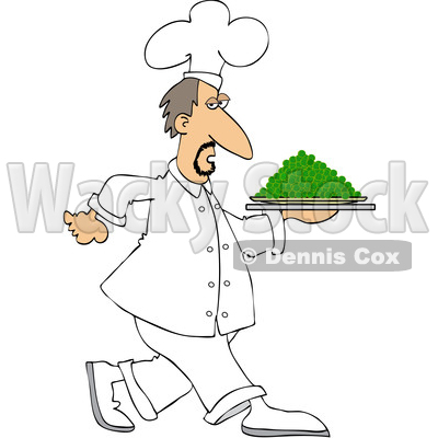 Clipart of a White Male Chef Walking with a Platter of Peas - Royalty Free Vector Illustration © djart #1569767