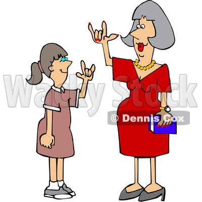 Cartoon Teacher Having a Conversation with a Student in American Sign Language © djart #1627661