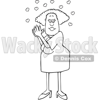 Cartoon Black and White Woman Clasping Her Hands Together Under Love Hearts © djart #1637803