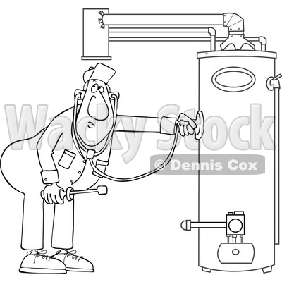 Cartoon Male Plumber Diagnosing a Water Heater © djart #1696510
