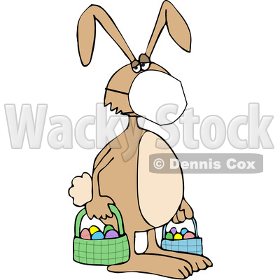 Cartoon Easter Bunny Wearing a Covid19 Mask © djart #1705753