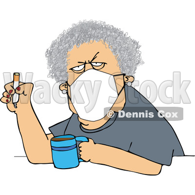 Cartoon Grumpy Old White Woman Wearing a Mask and Smoking a Cigarette over Coffee © djart #1714238