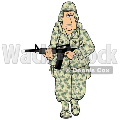Cartoon Army Soldier Walking with a Rifle © djart #1719508
