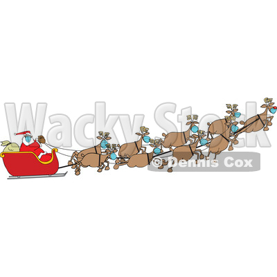 Cartoon Coronavirus Christmas Reindeer Flying Santa in His Sleigh © djart #1729629