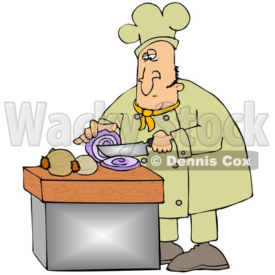 Clipart Illustration of a White Male Chef Crying While Slicing Purple Onions © djart #18563