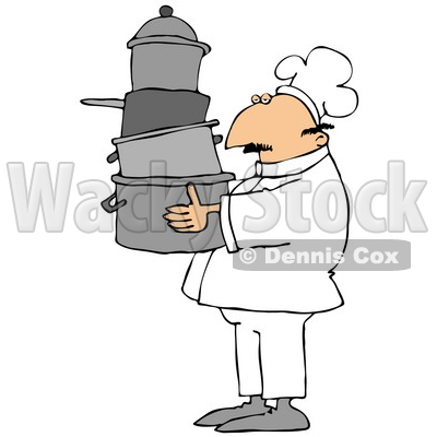 Culinary Clipart Illustration of a Male Chef In A White Hat And Uniform, Carrying A Large Stack Of Pots Through A Kitchen © djart #24640