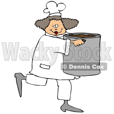 Culinary Clipart Illustration of a Happy Female Chef In A White Uniform And Hat, Prancing Across The Kitchen With A Large Pot Of Beans © djart #24642