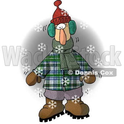 Cold Man Standing Outside While It's Snowing Clipart Illustration © djart #5716