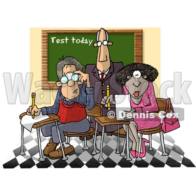Male Teacher Standing Over Two Students in a Classroom Clipart Picture © djart #6240