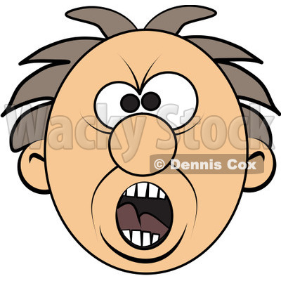 free (rf) clipart illustration of a screaming mad man's face