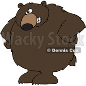 Royalty-Free Vector Clip Art Illustration of a Big Brown Bear With His Hands On His Hips © djart #1052985