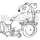 Royalty-Free Vetor Clip Art Illustration of a Coloring Page Outline Of A Dog In A Wheelchair © djart #1055094