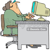 Royalty-Free Vector Clip Art Illustration of a Chubby Woman Looking Up Over Her Office Computer © djart #1061053