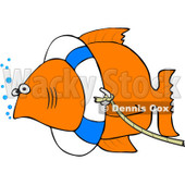 Clipart Fish With A Life Buoy On Its Head - Royalty Free Vector Illustration © djart #1069896