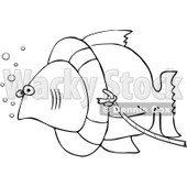 Clipart Outlined Fish With A Life Buoy On Its Head - Royalty Free Vector Illustration © djart #1069897