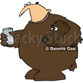 Clipart Mascot Man In A Bear Suit Holding A Glass Of Water - Royalty Free Vector Illustration © djart #1071939