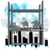 Clipart Three Skyscraper Iron Workers Eating Lunch Above The Clouds - Royalty Free Illustration © djart #1077720