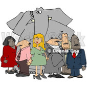 Clipart Group Of People Ignoring The Elephant In The Room 2 - Royalty Free Illustration © djart #1080343