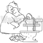 Clipart Outlined Woman With A Plunger Over A Clogged Toilet - Royalty Free Vector Illustration © djart #1082257