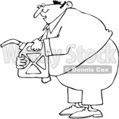 Clipart Outlined Man Holding A Gas Can - Royalty Free Vector Illustration © djart #1082260