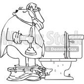 Clipart Outlined Man With A Plunger Over A Clogged Toilet - Royalty Free Vector Illustration © djart #1082261