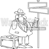 Clipart Outlined Lost Man Holding Directions Under Street Signs - Royalty Free Vector Illustration © djart #1089368