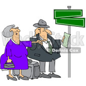 Clipart Lost Couple Holding Directions Under Street Signs - Royalty Free Vector Illustration © djart #1089370