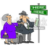 Clipart Lost Tourist Couple Holding Directions Under Street Signs - Royalty Free Illustration  © djart #1089371